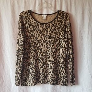 Chico's Leopard print sweater top size 1/Medium